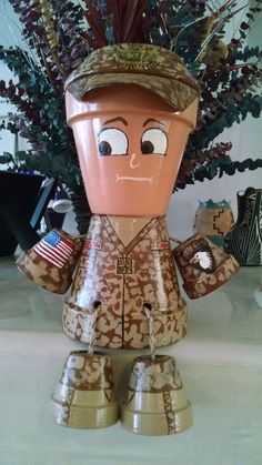 Our Soldier is looking for a new home where he can complement other military memorabilia. You can assign our Soldier whatever rank or unit you wish as well as Clay Pot Projects, Clay Pot Crafts, Diy Clay, Craft Projects, Diy Crafts, Flower Pot Art, Clay Flower Pots, Flower Pot Crafts, Flower Pot People