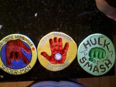 super hero salt dough handprints I did for my son Wyatt.