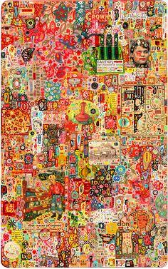 Collage/painting by Colin Johnson. Art Du Collage, Image Collage, Color Collage, Japan Illustration, Art Brut, Wow Art, Outsider Art, Psychedelic Art, Art Plastique
