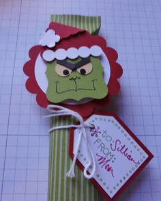 Stampin' Up! Curly Label Punch Art  by Beth Rush: Grinch candy bar cover