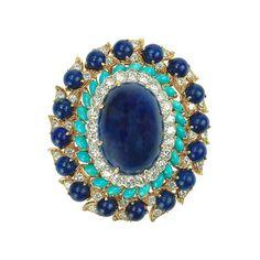 DAVID WEBB BROOCHES | David Webb Lapis Lazuli, Turquoise & Diamond Cluster Pendant Brooch ...