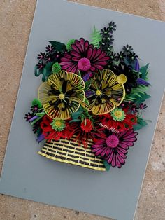 flower arrangement , Quilling art,greeting gift,unique design,hobby…