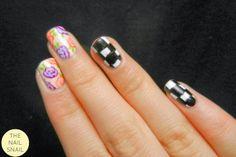 The Nail Snail: Recreation: Chalkboard Nails' Geometric vs. Organic Floral