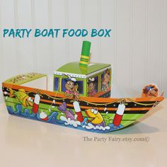 Party Boat Food Box, 5 Green Fishing Boat Food Box Trays, Cute Kids Party Food Box, Kids Meal Box, Fun Paper Lunch Box, Birthday Favor Box