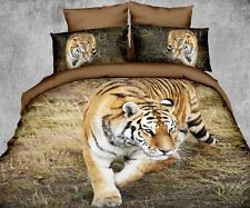High Quality Tiger Cotton Blend 3D Queen Size Bedding Set 4 Pcs