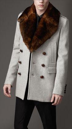 Burberry Fur Collar Pea Coat in Gray for Men (pale grey melange) - Lyst