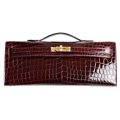Hermes Bourdeaux Shiny Niloticus Crocodile Kelly Cut with Gold Hardware Hermes Bags, Hermes Handbags, Fashion Handbags, Purses And Handbags, Fashion Bags, Luxury Handbags, Fashion Plates, Leather Purses, Leather Handbags