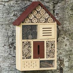 Beneficial Insect Habitat for Mason Bees which do not sting like honey bees are so are easy to have in the garden. Put one of these on a post or a tree to attract these great pollinators to your garden!