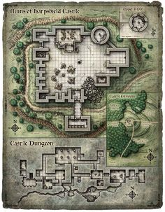 Ruins of a castle, with upperfloor tower, a dungeon, and a sketch of surrounding environment.