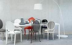 Chairs in different colours and styles #dining #room