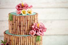 Beautiful Tropical Wedding Cake - Karen Davies Sugarcraft. Bamboo Mould - Karen Davies Sugarcraft. Sugar Flower Mould - Karen Davies Sugarcraft.