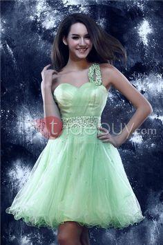 ワンショルダーA-ライン 短いプロム/ホームカミングドレス