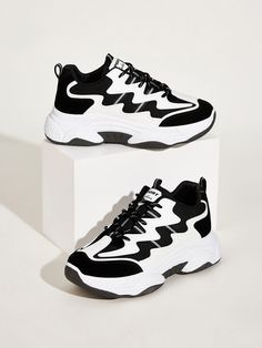 Shop Lace-up Front Chunky Sole Sneakers at ROMWE, discover more fashion styles online. Sneakers Fashion, Fashion Shoes, Shoes Sneakers, Shoes Heels, Fashion Black, Fashion Fashion, Fashion Ideas, Vintage Fashion, Sock Shoes