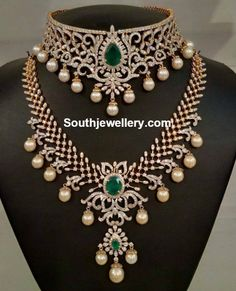 Bridal Diamond Necklace and Haram Set - Jewellery Designs