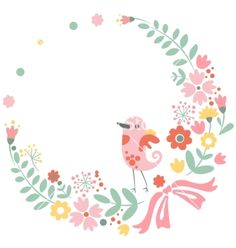 Vintage floral background with cute bird in pastel vector - by TopVectors on VectorStock®
