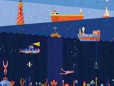 Underwater designed by Lotta Nieminen. Connect with them on Dribbble; Glitter Texture, Lotta Nieminen, Sea Logo, Deco Nature, Kids Story Books, Map Design, Graphic Design Illustration, Logo Inspiration, Underwater