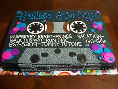 I want this cake for my 80's theme birthday party!!!!  How fun is this?