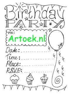 Printable invitation for a birthday party Printable Invitations, Rsvp, Free Printables, Lettering, Black And White, Math, Birthday, Prints, Om