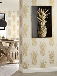 Arthouse Copacabana Wallpaper - Gold A dramatic twist on a fun and quirky print, this totally tropical wallpaper from Arthouse adds personality to any room. In gold, the large-scale pineapple design flaunts a subtle mica and metallic effect for an ultra-modern finish. For a more contemporary look, this wallpaper is also available separately in black and white (see item number KKW7W). Roll Length: 10mDepth: 6.4 CMHeight: 6.4 CMWallpaper Design: PatternedWidth: 53 CM