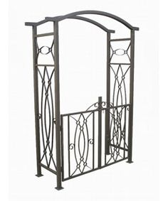@Overstock - Elaborate garden arbor with gate Wrought iron construction Assembled dimensions measure 52 inches wide x 20 inches deep x 82 inches high Commercial powder coating http://www.overstock.com/Home-Garden/Constaine-Wrought-Iron-Garden-Arbor-with-Gate/2173101/product.html?CID=214117 $261.99