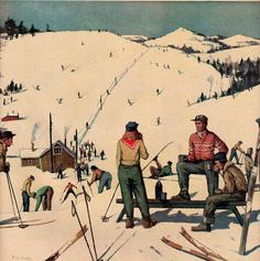 vintage ski slope 1948 advertisement coffee by FrenchFrouFrou, $12.95