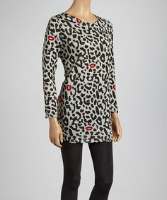 Take a look at this Black & Red Leopard Scoop Neck Tunic by Lady's World on #zulily today!
