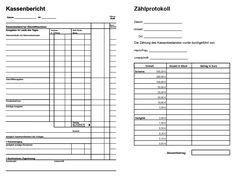 Kassenbericht Und Zahlprotokoll Pdf Anschreiben Vorlage Vorlagen Excel Vorlage