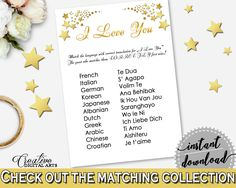 White And Gold Gold Stars Bridal Shower Theme: I Love You Game - love you languages, popular theme, party stuff, party decorations - 6GQOT #bridalshower #bride-to-be #bridetobe