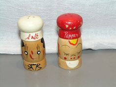 Vintage Wooden Salt and Pepper Shakers Man and by GoodOleDays, $14.99
