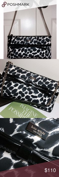 """Kate Spade Handbag Outstanding condition!  Carried twice. Like new, no flaws whatsoever. Adorable black/white ocelot print. Signature Kate Spade interior. Silver hardware. Zippered interior pocket and 2 interior slide pockets. Measures 11"""" x 6.5"""" with a chain drop of 9"""". No trades. kate spade Bags Shoulder Bags"""