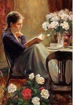 Reading Art, Woman Reading, Reading Books, Vladimir Volegov, Illustration Art, Illustrations, Character Illustration, Beautiful Paintings, Oeuvre D'art