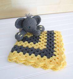 CUSTOM ORDER Crochet Grey and Yellow Elephant by SugarandSpiceKate