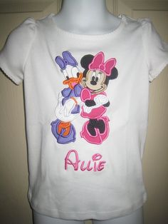 Appliqued Full Body Minnie Mouse and Daisy Duck