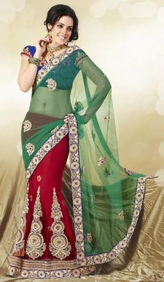 ffceba15a Red Green Net Embroidered Wedding Wear Lahenga Saree. Product Code   G3-LS9011  Price