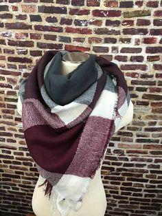 Burgundy and Gray Plaid Blanket Scarf