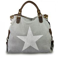 mynewbag.de - #IO.IO.MIO. Ital. Damentasche Leder Canvas Mix großer #Shopper #Stern grau weiß
