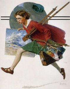 """iamlittlei: """" slowartday: """" Norman Rockwell, Girl Running with Wet Canvas, 1930 """" Best Norman Rockwell ever. """" Only Norman Rockwell I like. Peintures Norman Rockwell, Norman Rockwell Art, Norman Rockwell Paintings, Vintage Illustration, American Illustration, Illustration Artists, Sunset Art, Arte Pop, Girl Running"""
