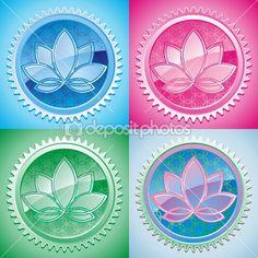 Set of oriental pattern with lotus by Evgeny Kozhevnikov - Stock Vector