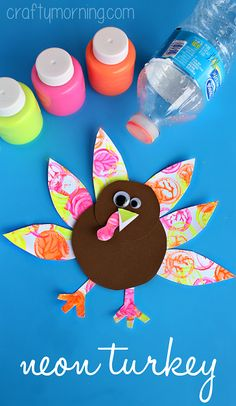 Neon Turkey Craft (Bottle Cap Painting) #Thanksgiving craft for kids to make | CraftyMorning.com
