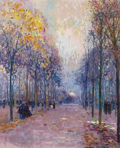 Figures taking a stroll in the Luxembourg Gardens, the Pantheon beyond, Elie Anatole Pavil. Ukranian (1873 - 1948)