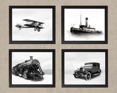 Transportation Set 1 Black & White - Four Photos Adventure Travel History Boys Room Vintage Antique Airplane Plane Car Train Boat Ship