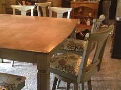 Thanks Pintrest! After looking at about a million pins and tutorials,  I finally got the courage to chalk paint my own dining room table and chairs!