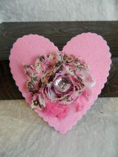 PINK HEART Holiday Hair Fascinator hair clip hair accessory by Changing Seasons. $10.00, via Etsy.