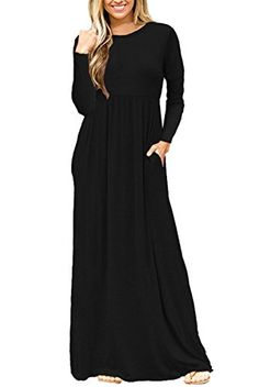 05bad3be91 AUSELILY Women Long Sleeve Round Neck Long Maxi Dresses with Side Pockets  Good for Spring,Autumn and Winter, Party,club or even.