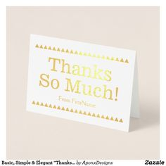 """Shop Simple Silver Foil """"Thank You!"""" Card created by AponxDesigns. Paper Envelopes, White Envelopes, Thank You Greeting Cards, Colored Paper, Thankful, Place Card Holders, Elegant, Simple, Silver"""