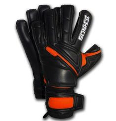 Ichnos Incognito Black Orange Adult Football Goalkeeper Gloves with finger protective bars