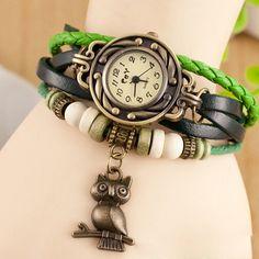 2014 новое поступление 8 цветов кварцевые женская платье просмотрам обертывание сова искусственная кожа браслет наручные часы, принадлежащий категории Наручные часы и относящийся к Часы на сайте AliExpress.com | Alibaba Group