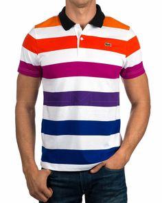 Polos Lacoste ® Rayas Multicolor | ENVIO GRATIS Best Mens T Shirts, Mens Tees, Camisa Polo, Knit Fashion, Mens Fashion, Polos Lacoste, Boys Summer Outfits, Polo T Shirts, Formal Shirts