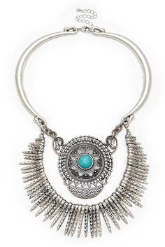 Turquoise pendant and dagger statement necklace