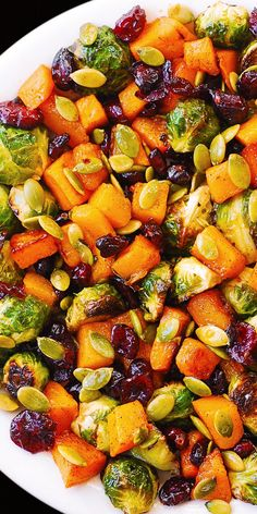 Frugal Food Items - How To Prepare Dinner And Luxuriate In Delightful Meals Without Having Shelling Out A Fortune Salad: Butternut Squash, Brussels Sprouts, Pumpkin Seeds, Cranberries Brussel Sprout Salad, Brussels Sprouts, Sprouts Salad, Roasted Sprouts, Brussel Sprouts Cranberries, Healthy Brussel Sprout Recipes, Roasted Winter Vegetables, Roasted Vegetable Salad, Dried Cranberries
